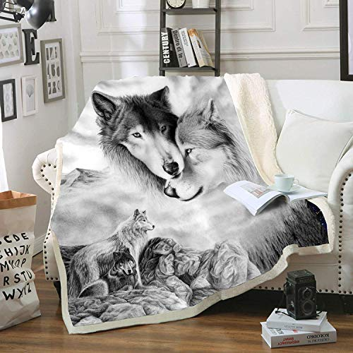 Home Gray Wolf Blanket Comfort...