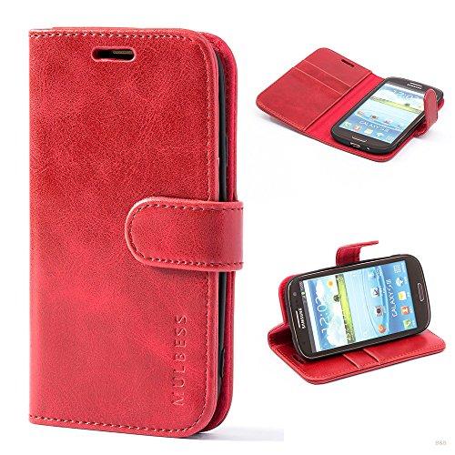 Mulbess Handyhülle für Samsung Galaxy S3 Hülle Leder, Samsung Galaxy S3 Handytasche, Vintage Flip Hüllen Schutzhülle für Samsung Galaxy S3 / S3 Neo Case, Wein Rot