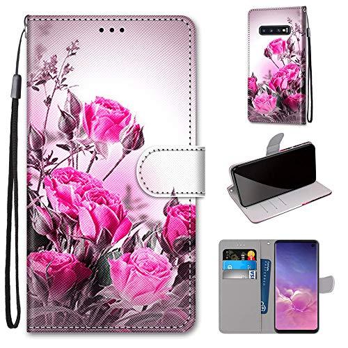 Miagon Flip PU Leder Schutzhülle für Samsung Galaxy S10e,Bunt Muster Hülle Brieftasche Case Cover Ständer mit Kartenfächer Trageschlaufe,Wild Rose