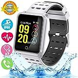 Smartwatch con Frecuencia Cardíaca, Reloj Inteligente con Bluetooth, Impermeable IP68 Reloj con presión Arterial Monitor de sueño Podómetro SMS Notificación de Llamada para iOS Android,blanco