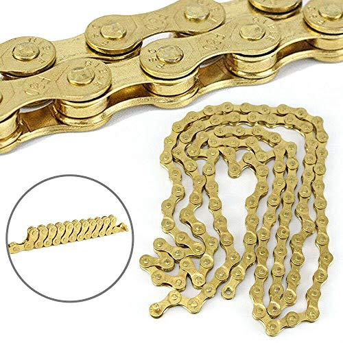 Great Features Of ZoeDul Sports Bicycle Chain Gold 8/24Speed 116L Mountain Road Bike Chain Solid Pal...