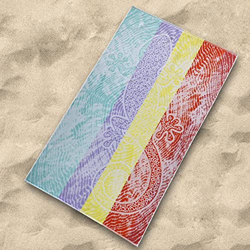 Sibiles - Toalla Playa Grande Algodón Reciclado 100x170 cm Lagarto Iguana Reptis Multicolor
