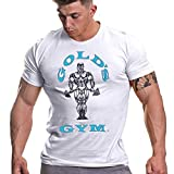 Gold's Gym Camiseta de Manga Corta para Hombre, para Entrenamiento, Fitness, Gimnasio, Deportes, Hombre, GGTS002_WHBLU_M, Blanc y Azul, M