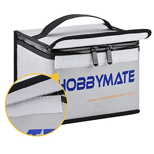 HOBBYMATE Lipo Safe Bag Fireproof Explosionproof, Lipo Safe Bag for Lipo Battery Storage and Charging, Large Space Fireproof and Water Resistant, Lipo Battery Guard with Double Zipper (260x130x150mm)