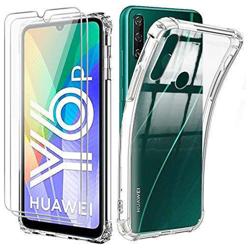 Reshias Funda para Huawei Y6p con Dos Cristal Templado Protector de Pantalla, Suave TPU Transparente Gel Silicona Anti-caída Protectora Carcasa para Huawei Y6p 2020 (6.3 Pulgadas)