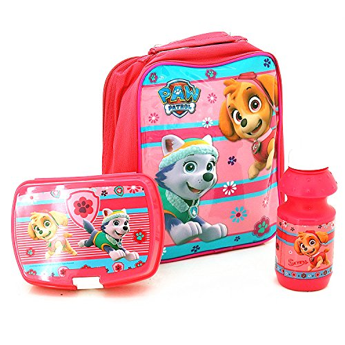 Nickelodeon® Paw Patrol Official Lunchbag Lunch Bag Case with Sandwich Box and Drinking Bottle Set for Kids Children (Pink)