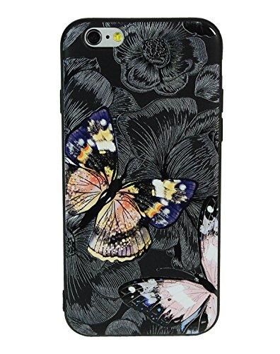 JR Design Cover iPhone 6, Cover Silicone Morbida Stampa Artisti con Effetti in Rilievo, Butterfly Apple iPhone 6 Cover TPU Nera JP_026