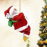 Bseical Santa Escalada en Cuerda, Cantando Figura de Papá de Estatuilla Noel, Escalera de Cuerda Decorativa, Adornos Navidad Exterior de la Regalos Niños, Regalo Navidad para Niños