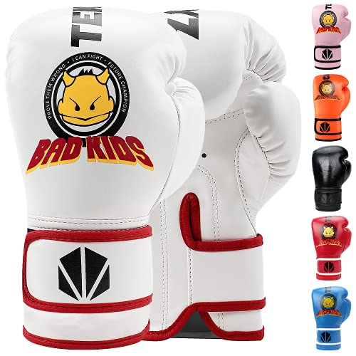 TEKXYZ Bad Kids Series Boxing Gloves White 4 OZ – Synthetic Leather Kids Boxing Training Gloves with Vivid Color for Boys and Girls Age 3 to 12 Years Old
