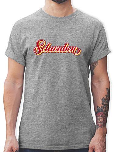 Schwaben Männer - Schwaben buntes Lettering - M - Grau meliert - Rundhals - L190 - Schlichtes Männer Shirt