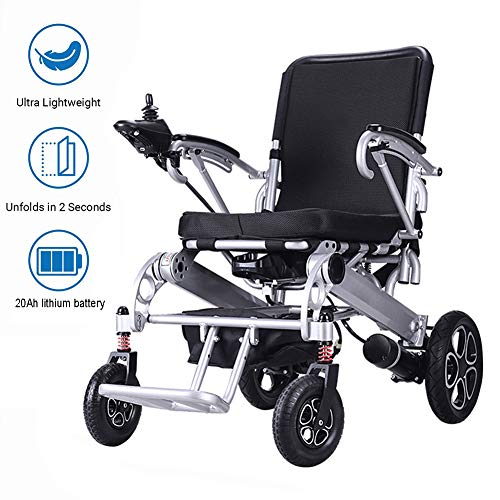 RDJM Lightweight Foldable Electric Wheelchair, with 20Ah Li-ion Battery, Ultra Portable Foldable Power Motorized Scooter Chair for Disabled and Elderly Mobility