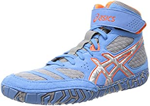 Asics Men's Aggressor 2 Wrestling Shoe,Dusty Blue/Silver/Red Orange,9 M US