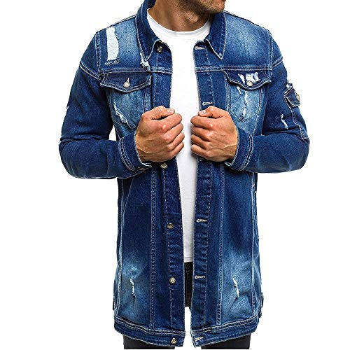 Herren Jeansjacke Lange Biker Style Herbst Jeans Jacket Denim Jacke Frühlings- Übergangsjacke Jeans Destroyed Vintage Used-Look mit Patches Herren Mode Mantel Jeansjacke Talliert Denim Jacket M
