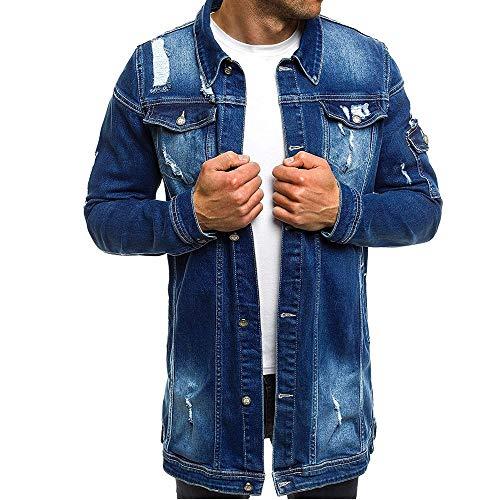 Men's Denim Jacket Spring Autumn Vintage Long Denim Jacket Biker Style Transitional Jacket Destroyed Long Sleeve Button-Down Cardigan Tops Fashion Coat Denim Jacket Streetwear Outwear Tops 3XL