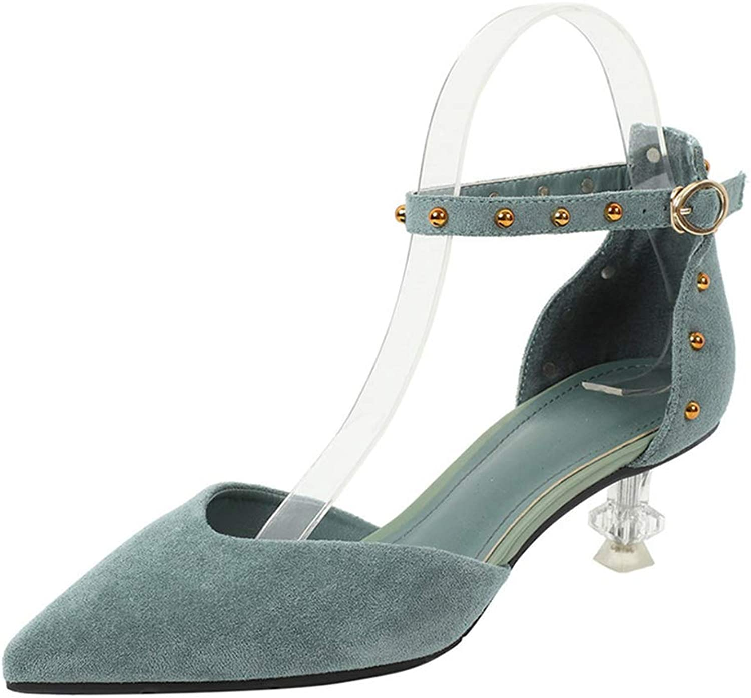 Phil Betty Women's Pump,Suede Fashion Rivet Middle Heel Green Black Daily Office Pumps