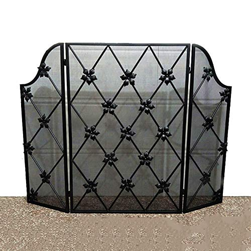Check Out This Screen ZWH-Fireplace 3 Panel Wrought Iron Fireplace, Outdoor Metal Decor Mesh, Baby S...