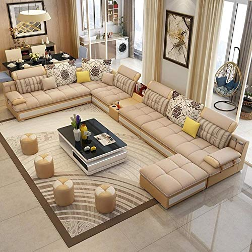 My Aashis Luxury Modern U Shaped Leather Fabric Corner Sectional Sofa Set Design Couches for Living Room with Ottoman