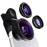 Cell Phone Camera Lens - Yarrashop 3 in 1 HD Clip-On Lens Kit for 180 Degree Fisheye Lens + 0.4X Wide Angle Lens + 10X Macro Lens for iPhone Xs Max/XR Samsung Huawei LG and Other Smartphone (Black)