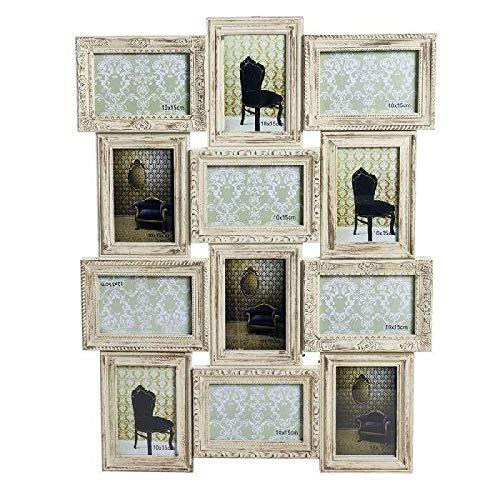 DCASA meervoudige fotolijst, 12 barokke fotolijsten als decoratie voor thuis, unisex, volwassenen, crèmekleurig, uniek