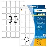 Herma Movables 10608多目的ラベル19 x 27 mm取り外し可能マット紙ホワイト960のパック
