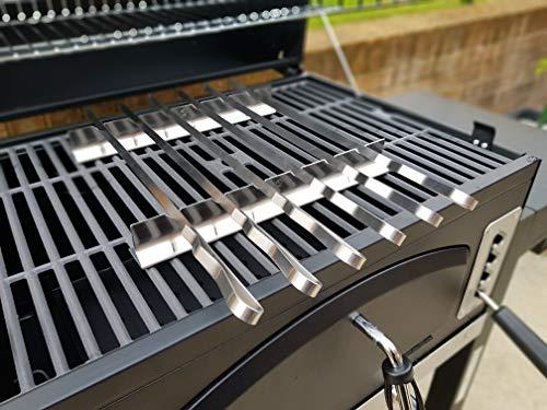 6 brochetas para barbacoa, de acero inoxidable, con estante, en funda de nailon45x 1cm (largo x ancho) y grosor de 1,5mm.Para todas tus necesidades de barbacoa.