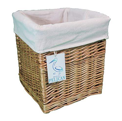 Cestas de mimbre cuadradas. Forro extraíble lavable. Estante decorativo solución de almacenamiento. Tamaño grande y pequeño, esquinas, ropa, juguetes, zapatos. Naturel 27 Litros