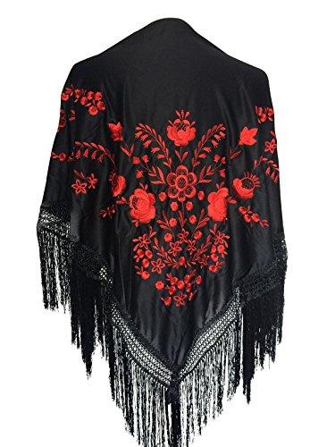 Spaanse manton/omslagdoek zwart met rode bloemen