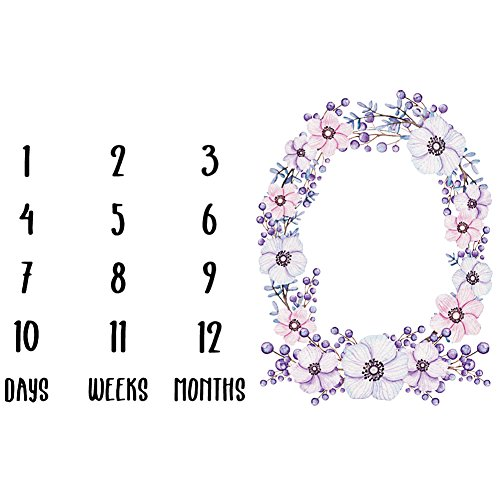 AchidistviQ Mode Neugeborenes Baby Mädchen Blume Zahlen Druck Decke Foto Prop Wolldecke 2#