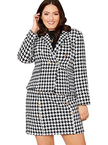 MakeMechanic Damen Zweiteiliger Anzug mit ausgefranstem Tweed-Blazer und Rock, Set -  -  X-Groß