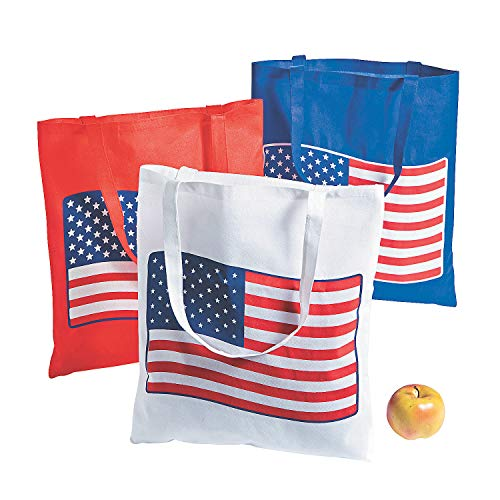 Fun Express Patriotic American Flag Tote Bags (Set of 12 Large Bags) for Fourth of July