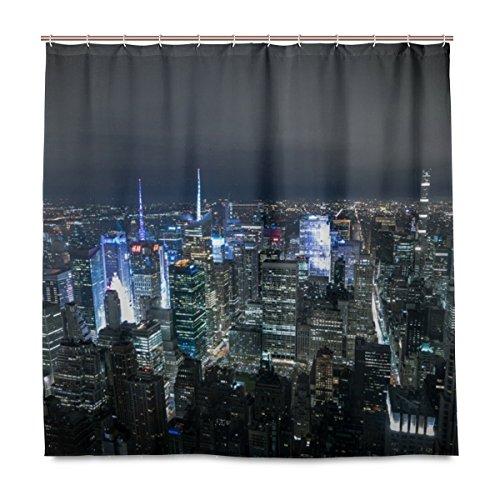 Cortina de ducha ISAOA New York Night Panorama de Manhattan, impermeable, antimoho, antibacteriano, diseño personalizado, tela de poliéster, 180 x 180 cm, con 12 ganchos
