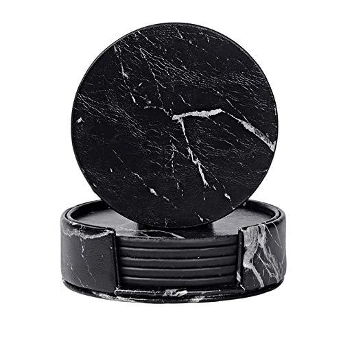 KANJJ-YU Juego de 6 posavasos para bebidas con soporte, color negro y mármol
