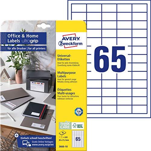 AVERY Zweckform 3666-10 Adressaufkleber (650 Klebeetiketten, 38x21,2 mm auf A4, bedruckbare Absenderetiketten, selbstklebende Adressetiketten mit ultragrip, ideal fürs HomeOffice) 10 Blatt, weiß