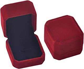 iSuperb Set of 2 Wine Red Velvet Couple Ring Box Earring Jewelry Case Gift Boxes 2.2x1.9x1.6inch