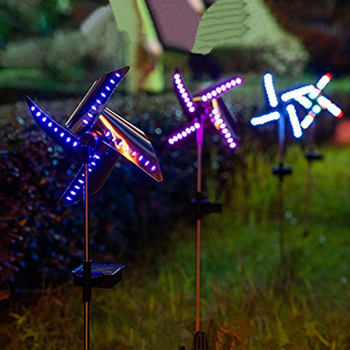LUDAXUE 3 Pcs Outdoor Solar LED Light Solar Rotating Windmill Landscape Light Decorative Waterproof Inserting Garden LED Lamp with 4 Colors for Outdoor (Size : 1 pcs)
