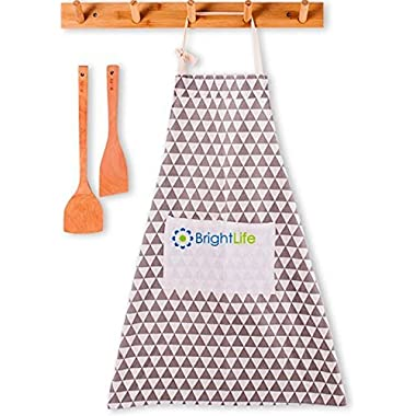 Apron for Woman Man Chef with Pockets - 100% Durable Cotton Fabric Professional Adjustable Cute Bib Apron Kitchen Home Restaurant with Long Neck & Waist Ties for BBQ Cooking Baking Grilling (Gray)