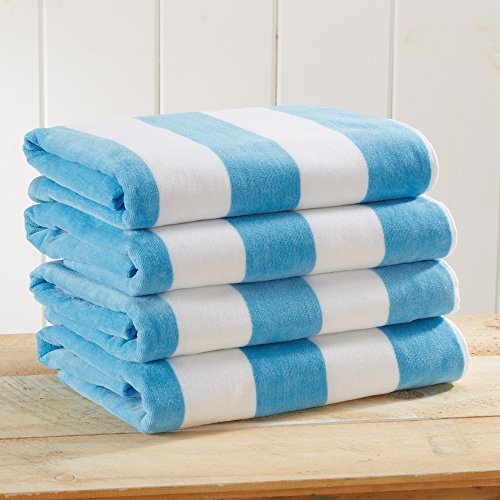 """4 Pack Plush Velour 100% Cotton Beach Towels. Cabana Stripe Pool Towels for Adults. (Charcoal Grey, 4 Pack- 30"""" x 60"""")"""