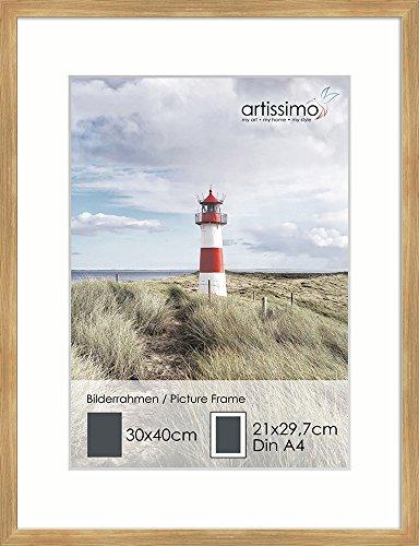 artissimo, PE6555-WR, Bilder-Rahmen 30x40cm mit Passepartout, Wechselrahmen für Poster Din A4, Holz, Echtholz-Rahmen inkl. Passepartout und Kunstglas, Außenmaß ca. 32x42cm, Farbe Eiche Oak