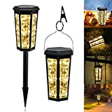 Moremili Solar Lights, Solar Pathway Lights Outdoor with Ground Stakes and Ring Clip - IP65 Waterproof Automatic Garden Landscape Light for Patio/Lawn/Yard/Driveway/Walkway, 2 Pack