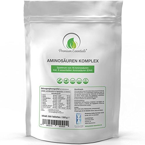 Aminosäuren-Komplex, 500 Tabletten á 1000mg (vegan)   Alle 18 Aminosäuren (BCAA & EAA) inkl. aller 8 essentiellen Aminos - Hochwertige Proteine hergestellt in Deutschland - Nachfüllpackung