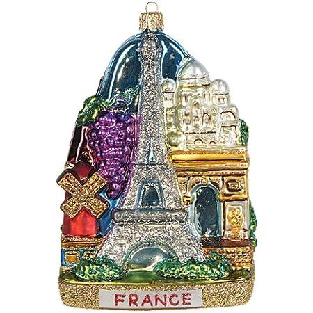 Amazon Com Pinnacle Peak Trading Company France Landscape Polish Mouth Blown Glass Christmas Ornament Paris Decoration Home Kitchen