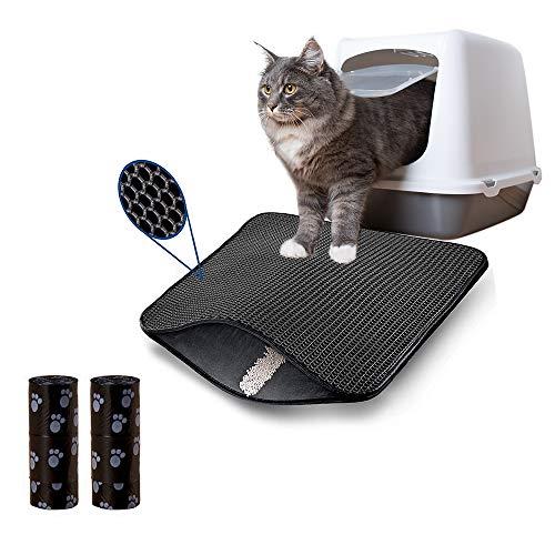 AcserGery Alfombrilla de arena para gatos con doble capa para arenero con panal (30 x 30)