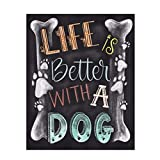 TWBB 5D DIY Diamond Painting Kit for Adult Full Drill Diamond Painting Sets,Blackboard Newspaper Style,10 x 12 inch (Life and Dog)