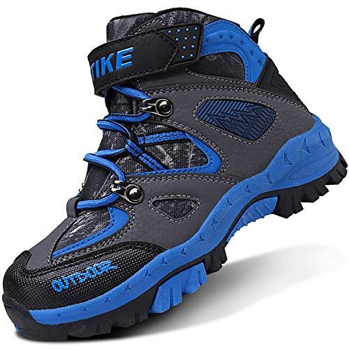 ASHION Kinder Winterschuhe Wanderschuhe Mid Schneestiefel Mädchen Trekkingl Stiefel Jungen Baumwollschuhe Warm Wanderstiefel(B Blau,28 EU)