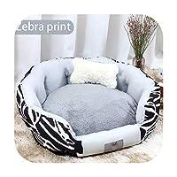 ペットハウスペットの巣ペットベッドペットマット長いぬいぐるみドーントベッド超柔らかいふわふわペットアクセサリー犬の猫のために洗える-Zebra print-XL