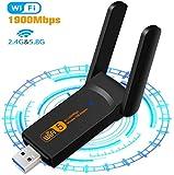SHIVR - Adaptador WiFi USB, 1900Mbps de doble banda 2.4GHz/5GHz, USB 3.0 Wireless Network Card WiFi Dongle para PC/computadora de escritorio y portátil con Windows 10/8/8.1/7