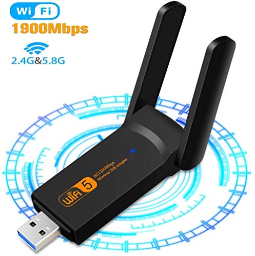 SHIVR USB WiFi Adapter, 1900Mbps Dual Band 2.4GHz/5GHz Adapter, USB 3.0 Wireless Network Card WiFi Dongle for PC/Desktop/Laptop with Windows 10/8/8.1/7