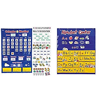 Learning Resources Calendar & Weather Pocket Chart Classroom Organization 136 Piece,Multi-color,30 3/4  x 44 1/4  & Alphabet Center Pocket Chart ABCs Letter Word Recognition 212 Pieces