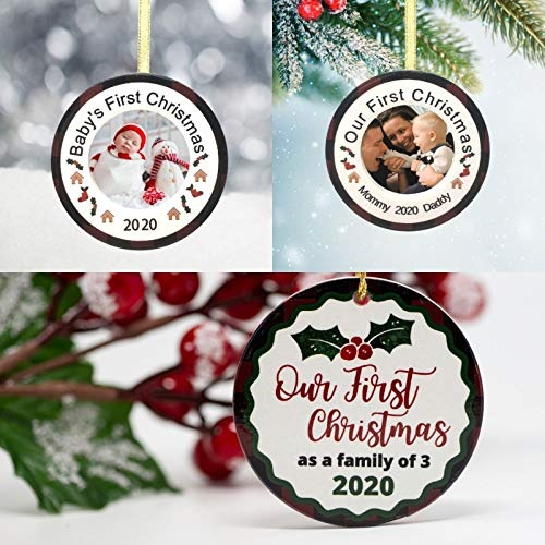 Our First Christmas as a Family of 3 Ornament Set