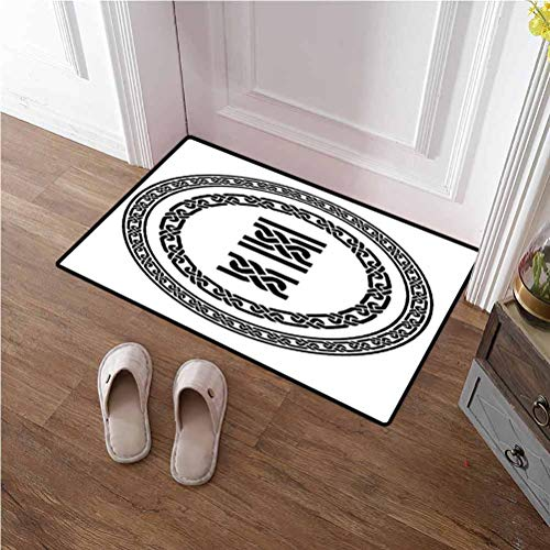 Front Door Mat Outdoor Celtic Carpet Machine Washable Old-Fashion Lace Celtic Knots Symbol Medieval Design Artsy Vikings Theme Graphic Area Rug for Layered Door Mats Black White 36x48 inches